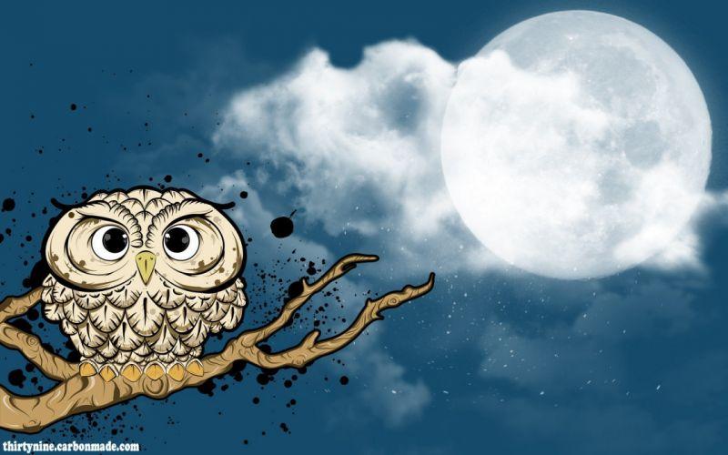Twilight animals Moon owls wallpaper