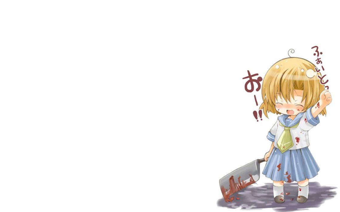Higurashi no Naku Koro ni Ryuuguu Rena simple background wallpaper