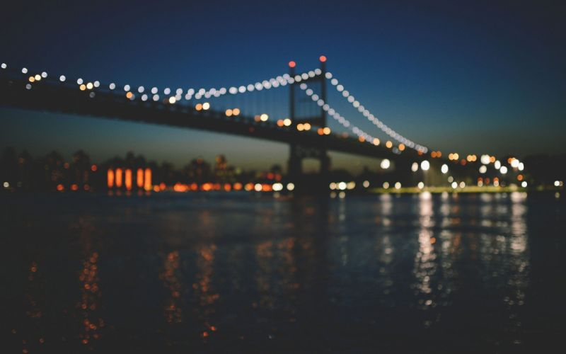 bridges New York City Manhattan bokeh out of focus wallpaper