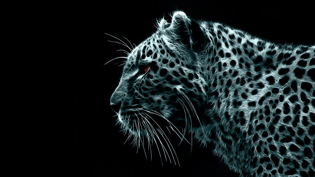 black white digital leopards wallpaper