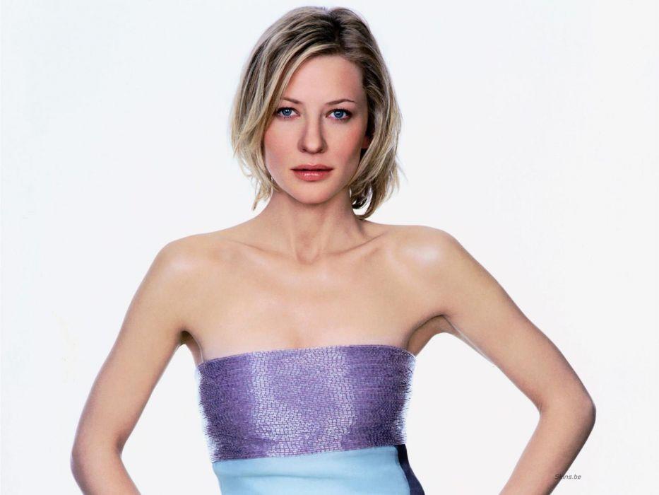 blondes women blue eyes actress Cate Blanchett white background wallpaper