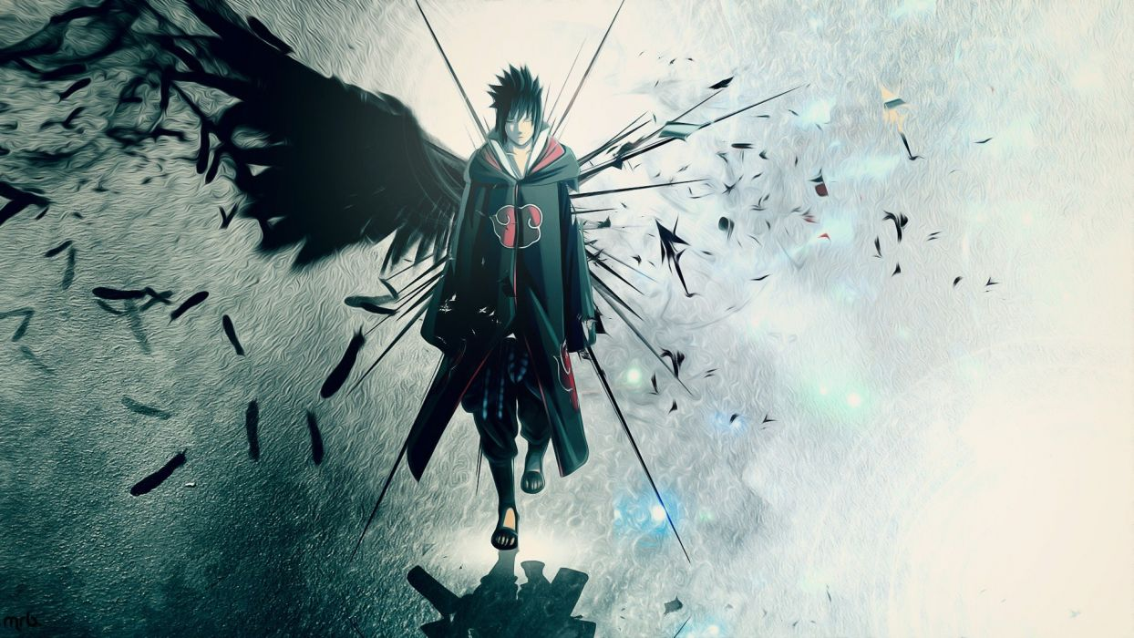 wings Uchiha Sasuke Naruto: Shippuden Akatsuki feathers artwork anime anime boys wallpaper
