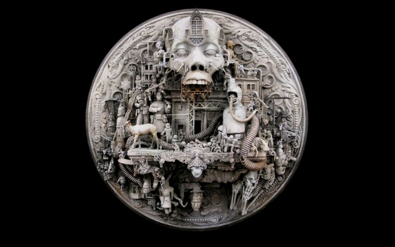 sculptures kris kuksi black background Hades wallpaper
