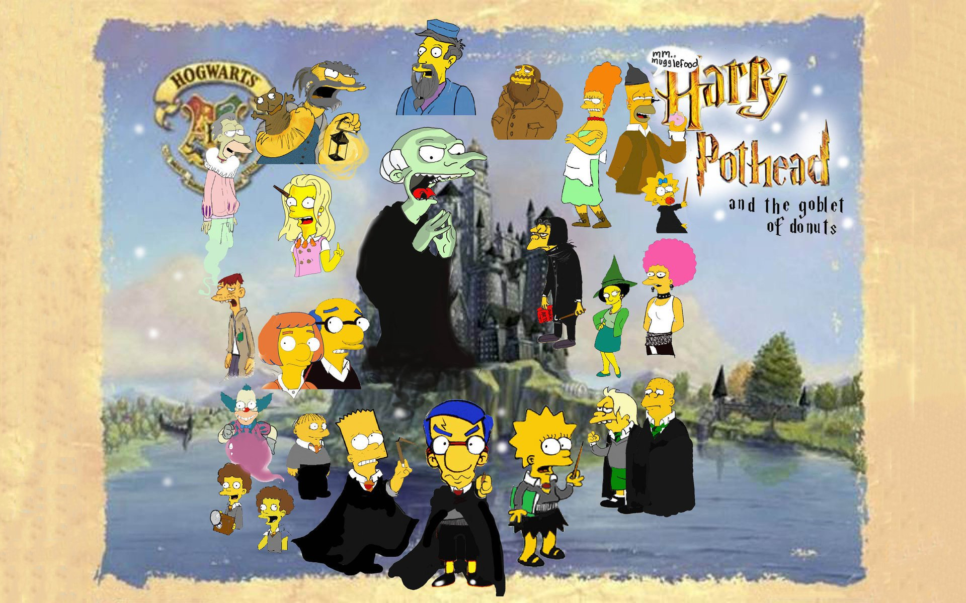 Homer Simpson Harry Potter The Simpsons Bart Lisa Mr Burns Marge Ralph Wiggum Krusty Clown Maggie Crossovers Seymour