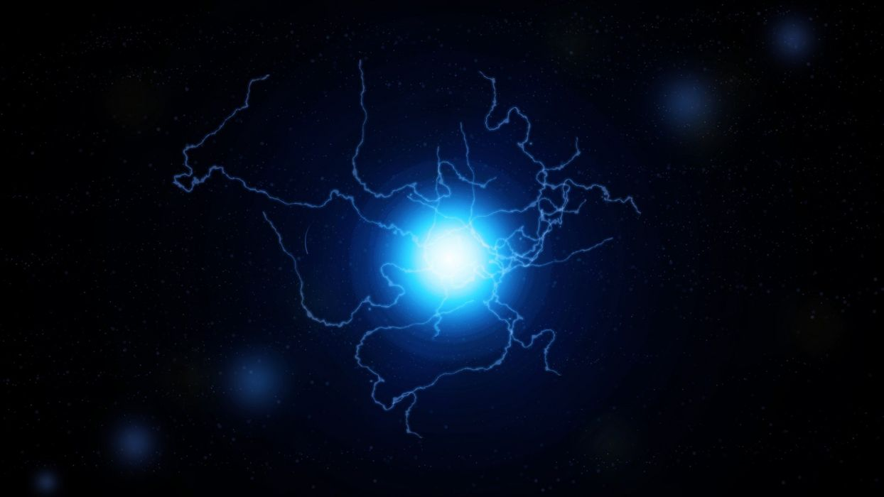 abstract blue outer space dark stars lens flare electricity darkness electric sparks science fiction lightning bolts sci-fi action Electric ball wallpaper