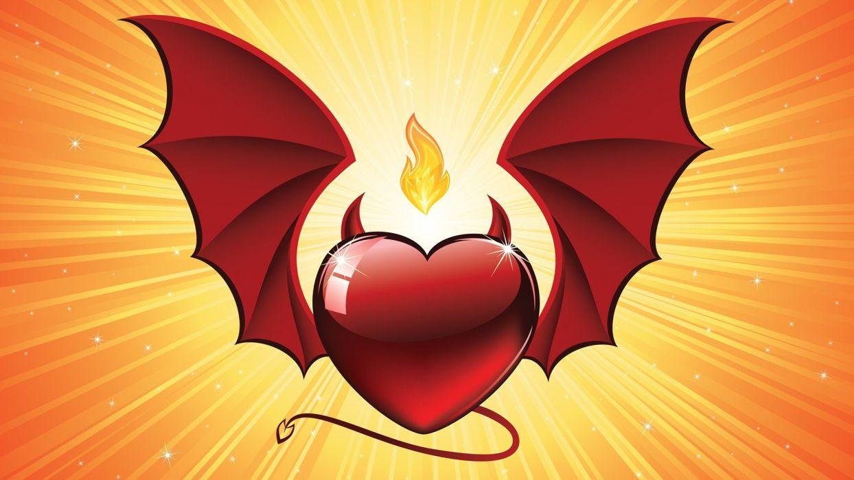 tails wings devil Valentines Day digital art hearts illuminated vector art wallpaper
