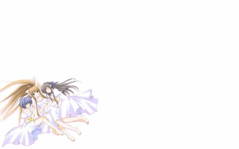 Kamio Misuzu anime simple background anime girls Air (anime) white background Kirishima Kano Tohno Minagi wallpaper