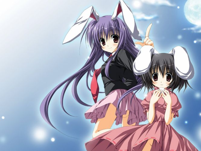 Touhou school uniforms bunny girls animal ears Reisen Udongein Inaba Inaba Tewi anime girls wallpaper