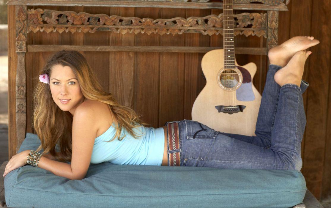 blondes women jeans long hair guitars singers Colbie Caillat wallpaper