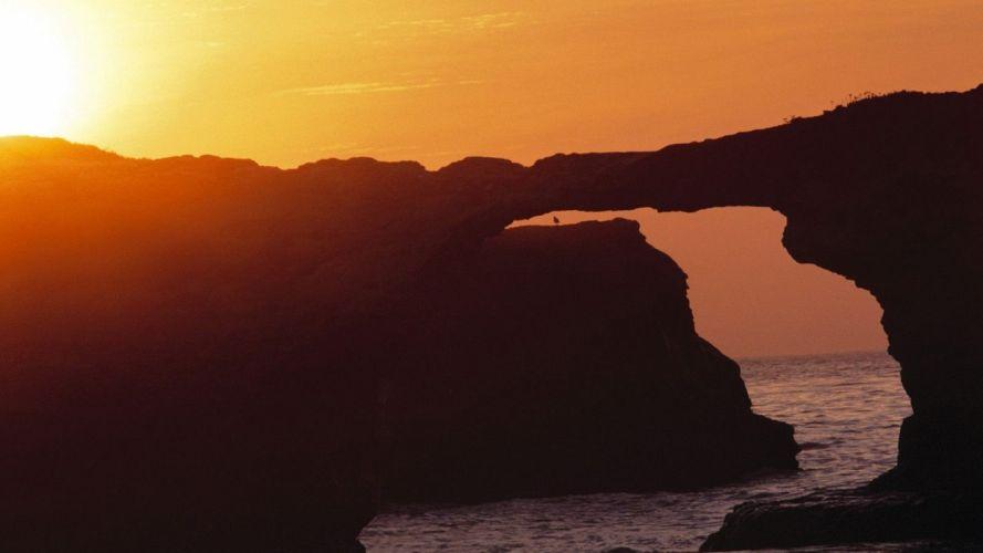 sunset nature bridges California parks Santa wallpaper
