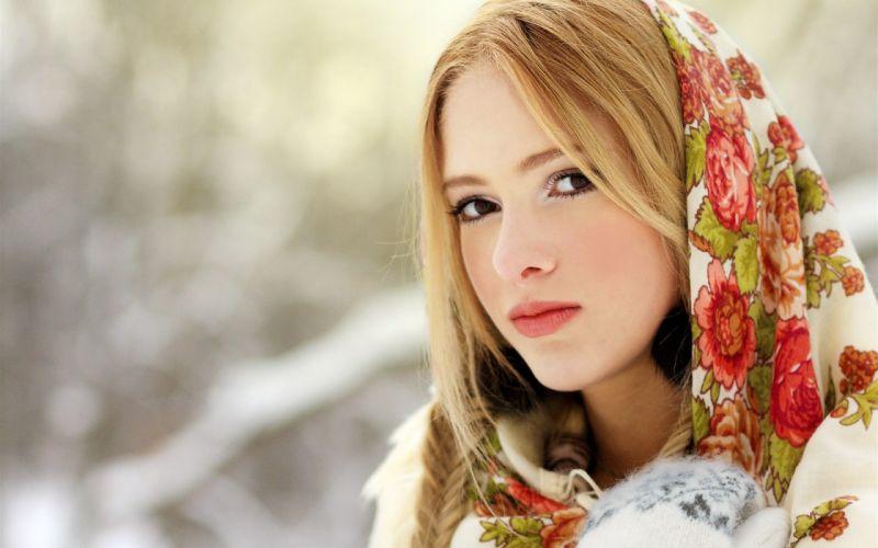 blondes women scarfs wallpaper