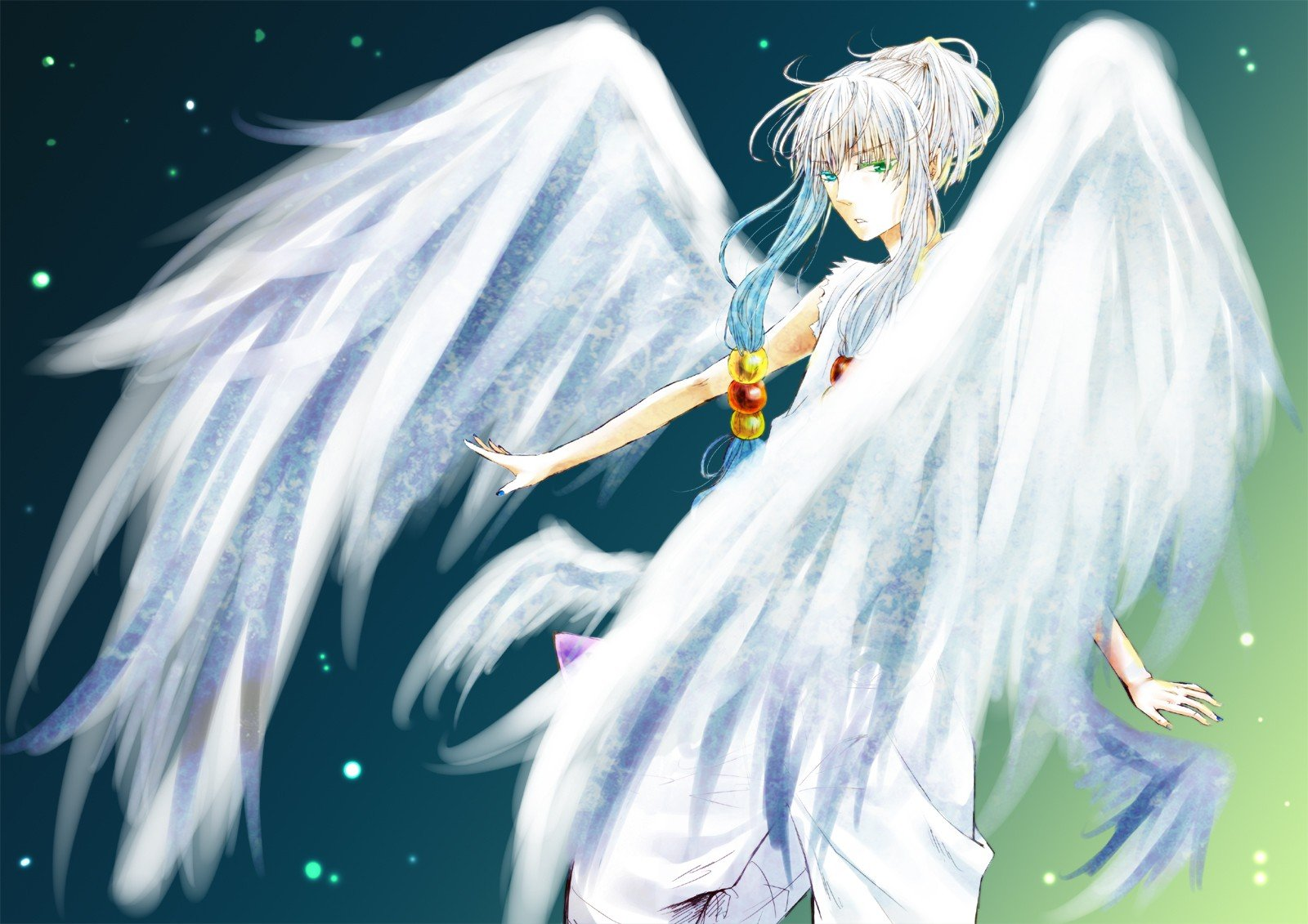 Angels wings trap anime anime boys white hair wallpaper ...