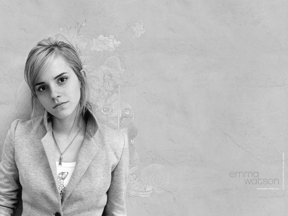 women Emma Watson monochrome wallpaper
