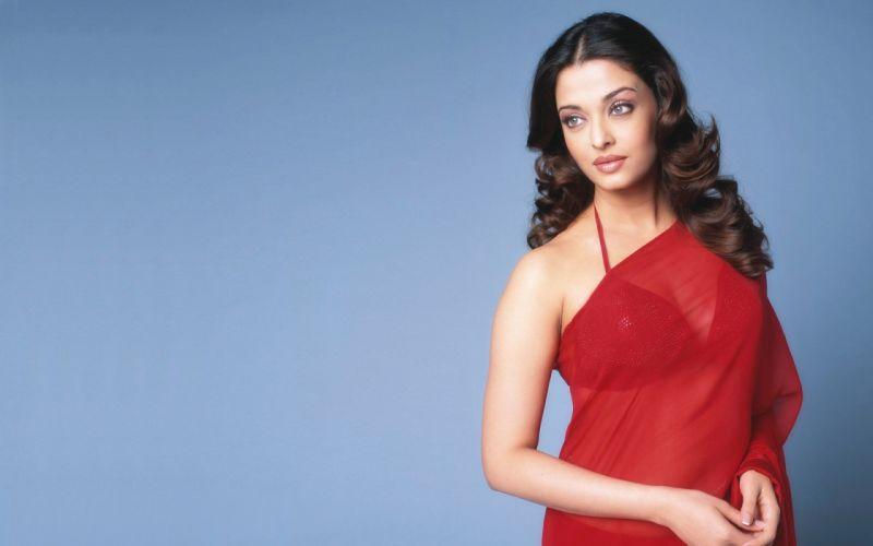 women actress long hair celebrity red dress Aishwarya Rai simple background wallpaper