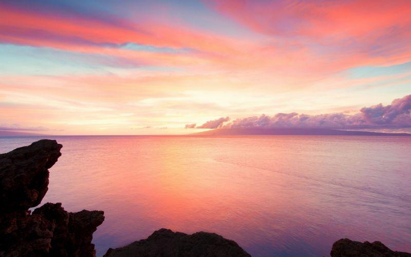 sunset landscapes nature coast rocks Hawaii USA calm sea wallpaper