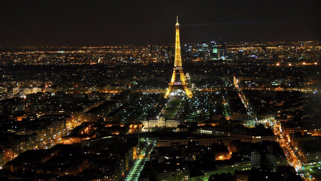 Eiffel Tower Paris Landscapes City Lights Top View Cities Skyline Wallpaper
