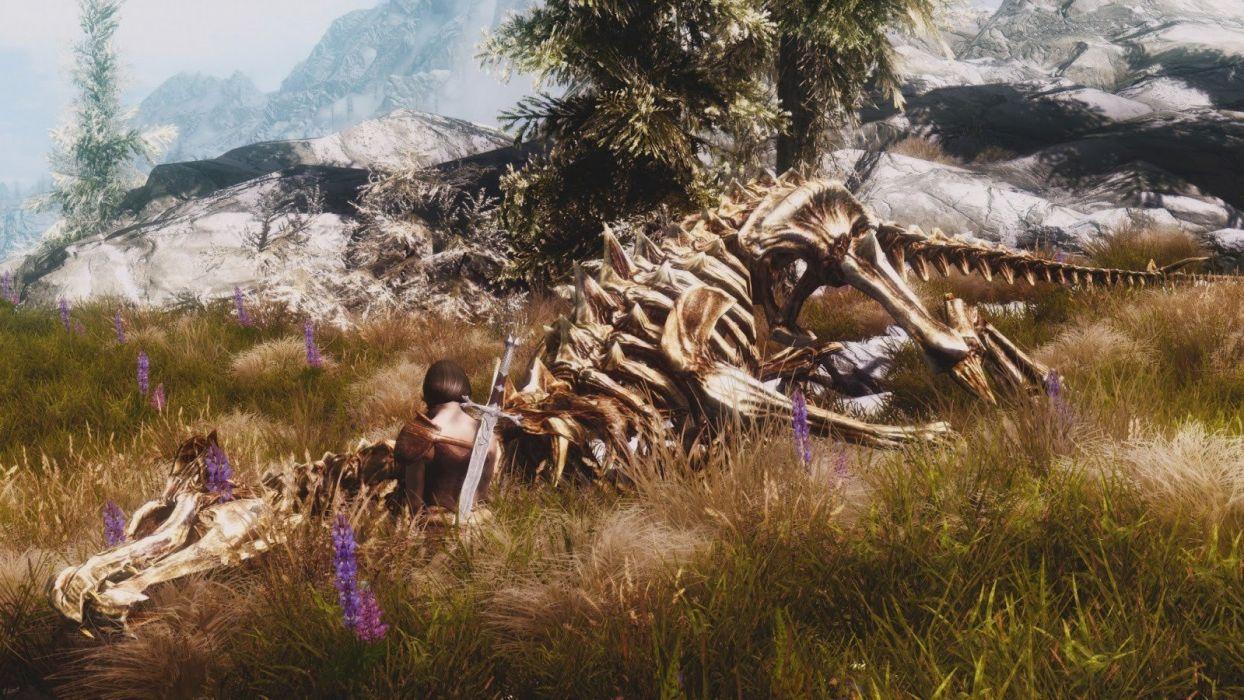 brunettes women video games trees flowers weapons plants skeletons The Elder Scrolls swords The Elder Scrolls V: Skyrim wallpaper