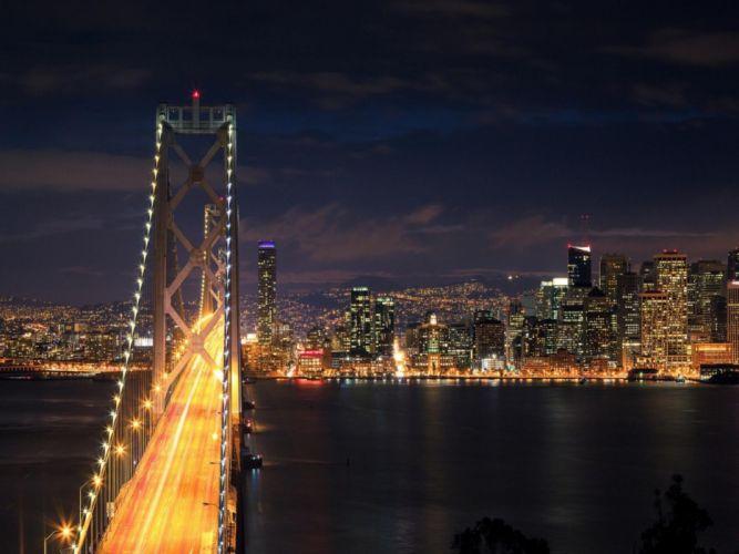 cityscapes night lights bridges cities wallpaper