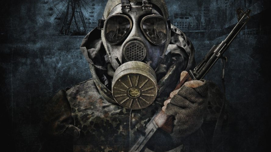 S_T_A_L_K_E_R_ military post-apocalyptic gas masks camouflage artwork AK-47 wallpaper
