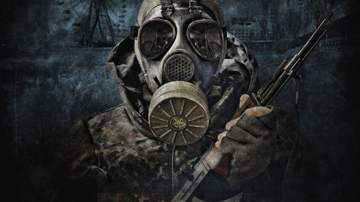 S_T_A_L_K_E_R_ military post-apocalyptic gas masks camouflage artwork AK-47 wallpaper