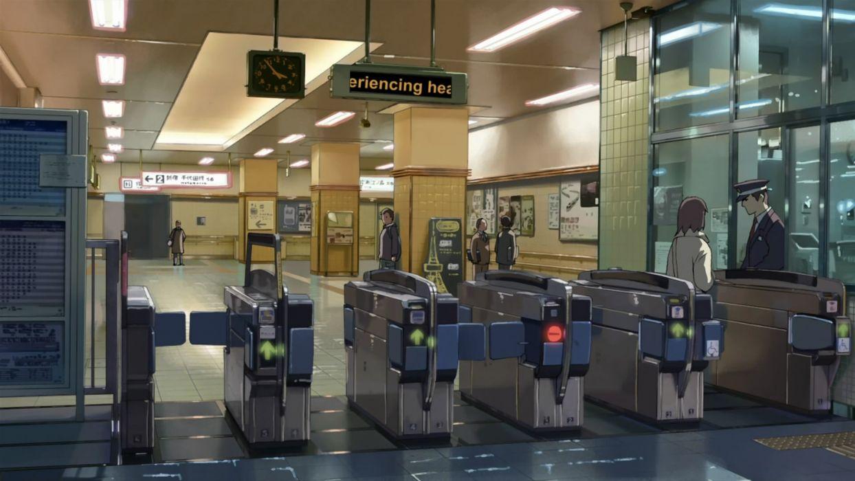 Makoto Shinkai Train Stations 5 Centimeters Per Second Artwork Turnstiles Wallpaper