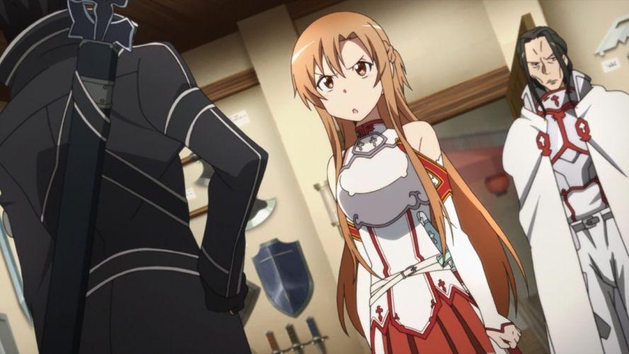 screenshots anime anime girls Sword Art Online Yuuki Asuna Kirigaya Kazuto Aincrad wallpaper