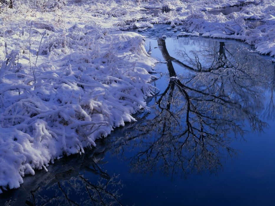 landscapes winter reflections wallpaper