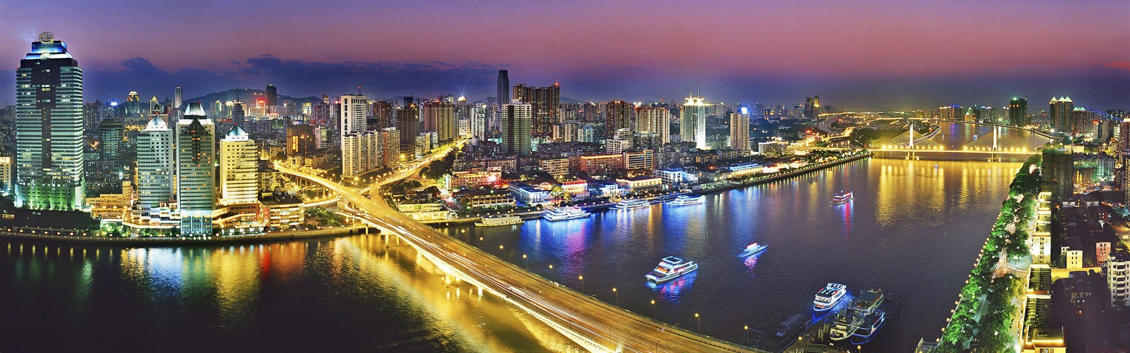 cityscapes China ships bridges skyscrapers city lights panorama rivers reflections wallpaper