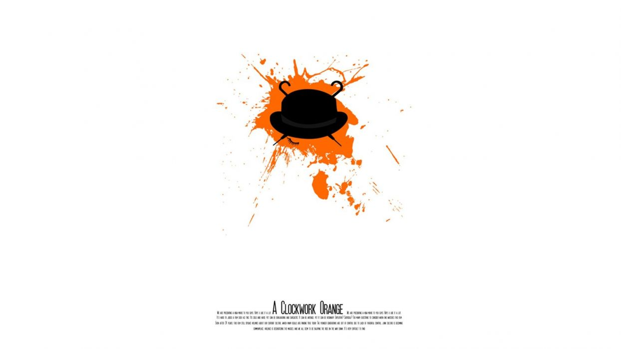 movies orange Clockwork Orange Stanley Kubrick hats fan art white background wallpaper