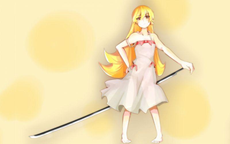 blondes dress long hair weapons Bakemonogatari vampires red eyes Oshino Shinobu anime anime girls swords Nisemonogatari Monogatari series wallpaper