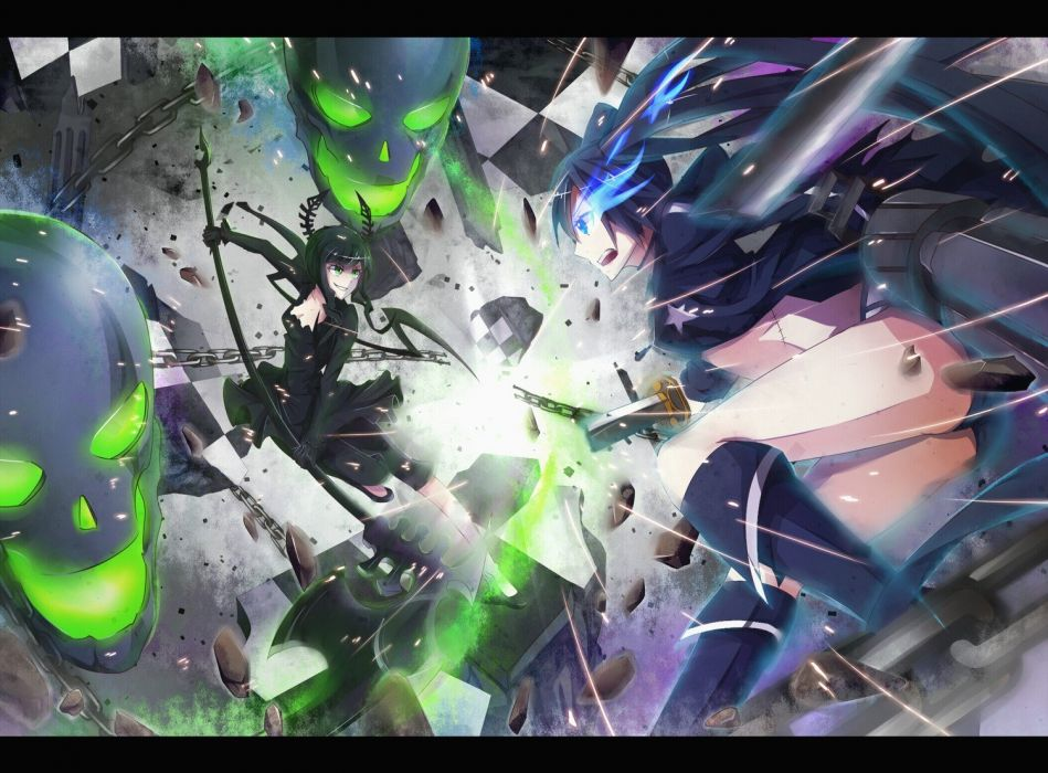 skulls Black Rock Shooter fight weapons anime anime girls glowing eyes wallpaper