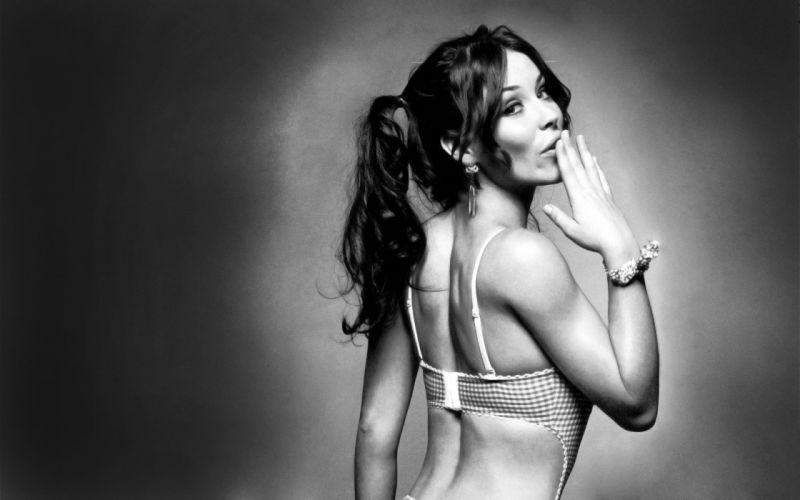 women Evangeline Lilly monochrome wallpaper