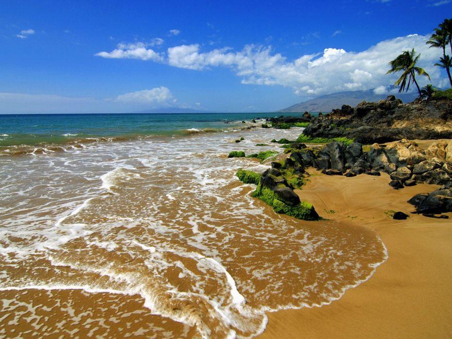 landscapes Hawaii islands beaches wallpaper