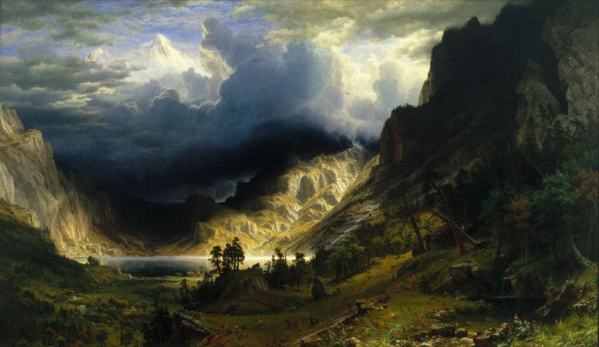 mountains valley clouds wallpaper