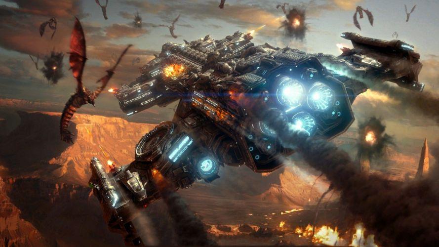 video games science fiction StarCraft II mutalisk battlecruiser wallpaper