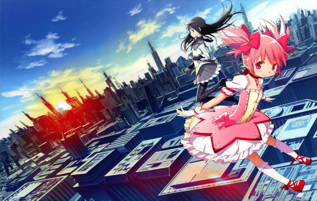 brunettes cityscapes pink hair Mahou Shoujo Madoka Magica Kaname Madoka anime Akemi Homura anime girls wallpaper