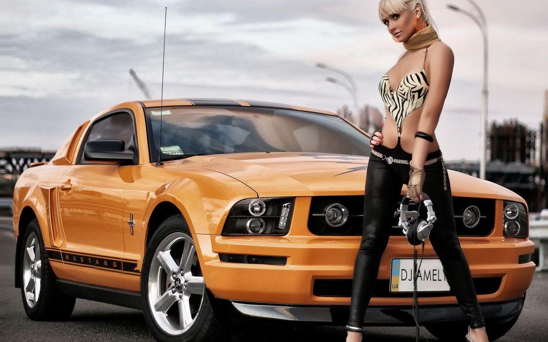 blondes women cars earphones vehicles Ford Mustang wallpaper
