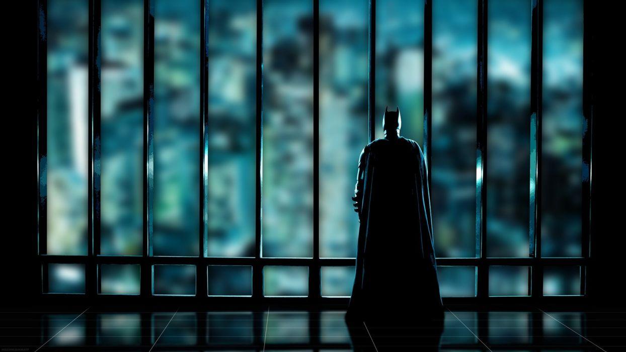 Batman silhouettes superheroes Gotham City window panes wallpaper