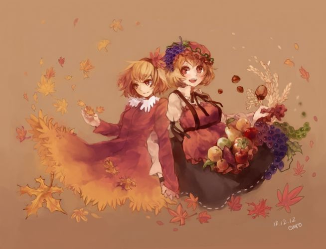 blondes video games Touhou autumn dress fruits leaves Goddess grapes red eyes short hair yellow eyes Mountain of Faith blush red dress sisters open mouth cereal pears aprons holding hands hats apples Aki Minoriko Aki Shizuha simple background anime girls wallpaper