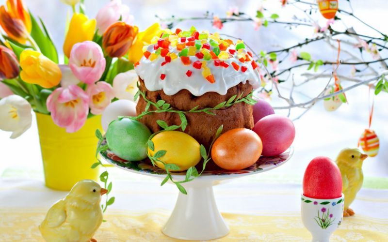 eggs tulips Easter easter eggs cakes icing wallpaper