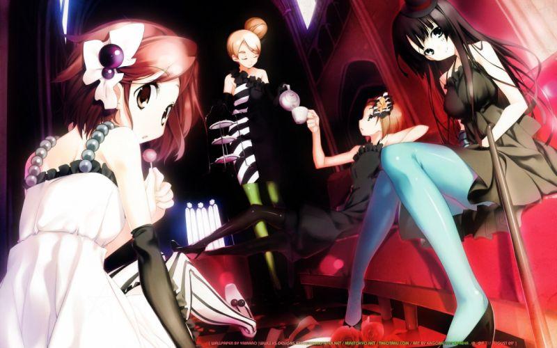 K-ON! Hirasawa Yui Akiyama Mio Tainaka Ritsu Kotobuki Tsumugi anime anime girls striped legwear wallpaper