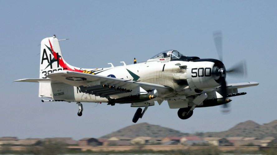 aircraft military Warbird A-1 Skyraider SPAD fighters wallpaper