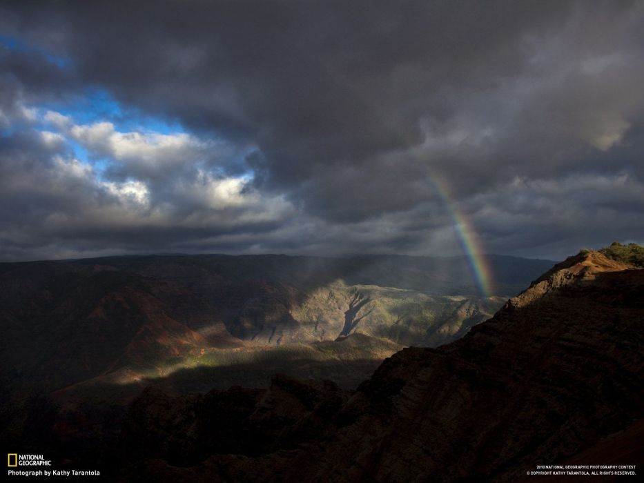 mountains landscapes Hawaii National Geographic rainbows kauai wallpaper