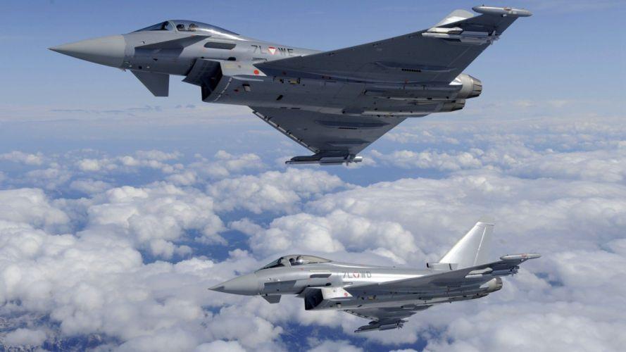 aircraft military Eurofighter Typhoon lakes makkha penguies wallpaper