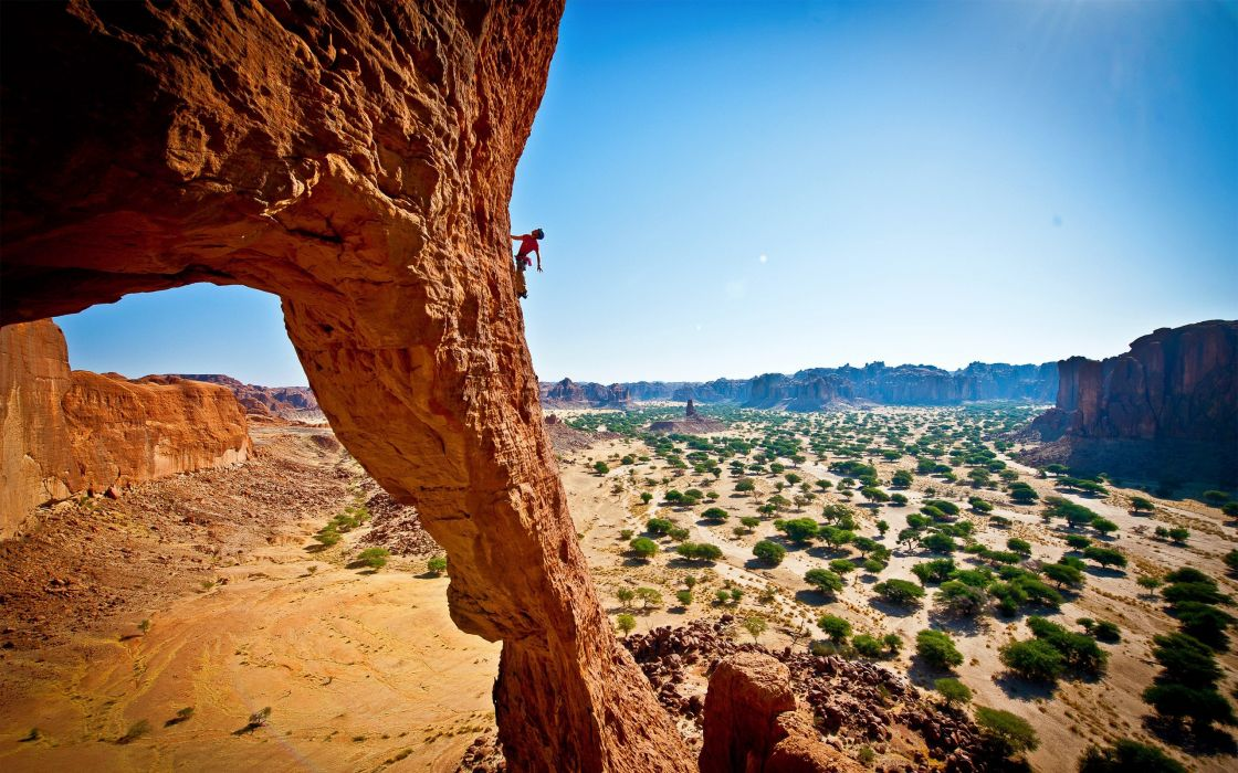 landscapes nature deserts mountaineers rock climbing shrubs rock formations Chad (country) wallpaper