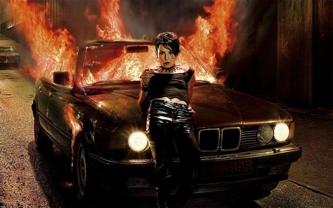 brunettes women cars fire The Girl with the Dragon Tattoo wallpaper