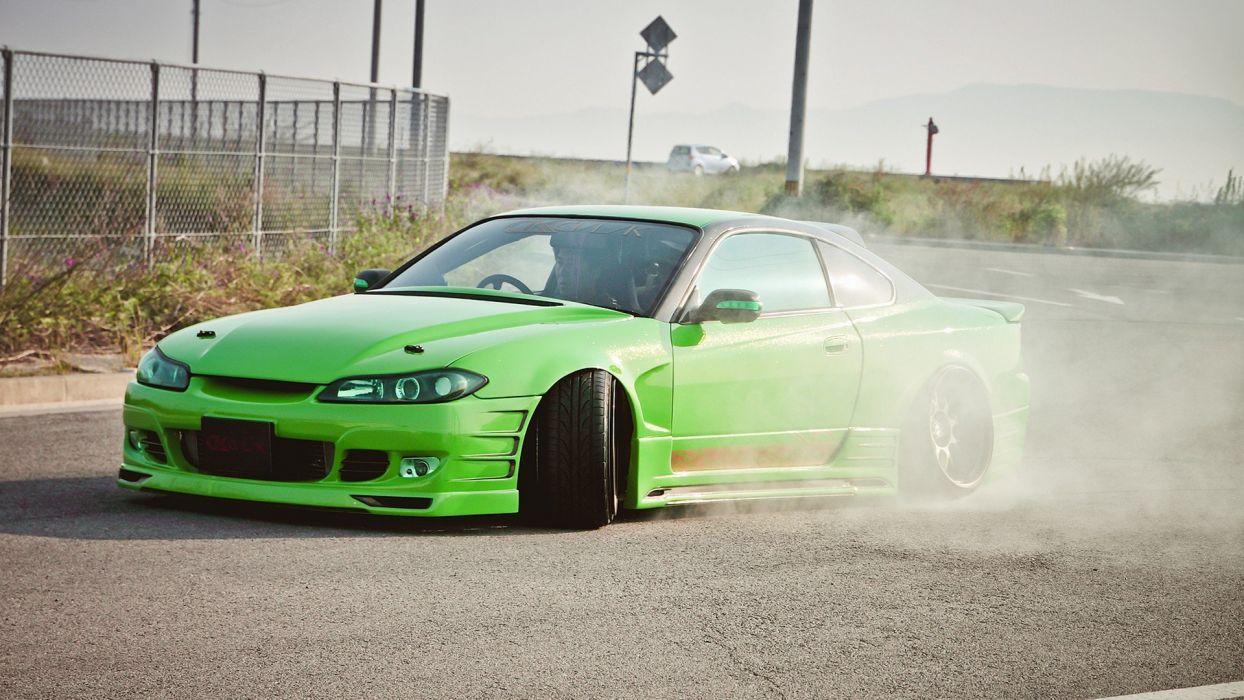 green cars tuning Nissan Silvia S15 JDM Japanese domestic market wallpaper