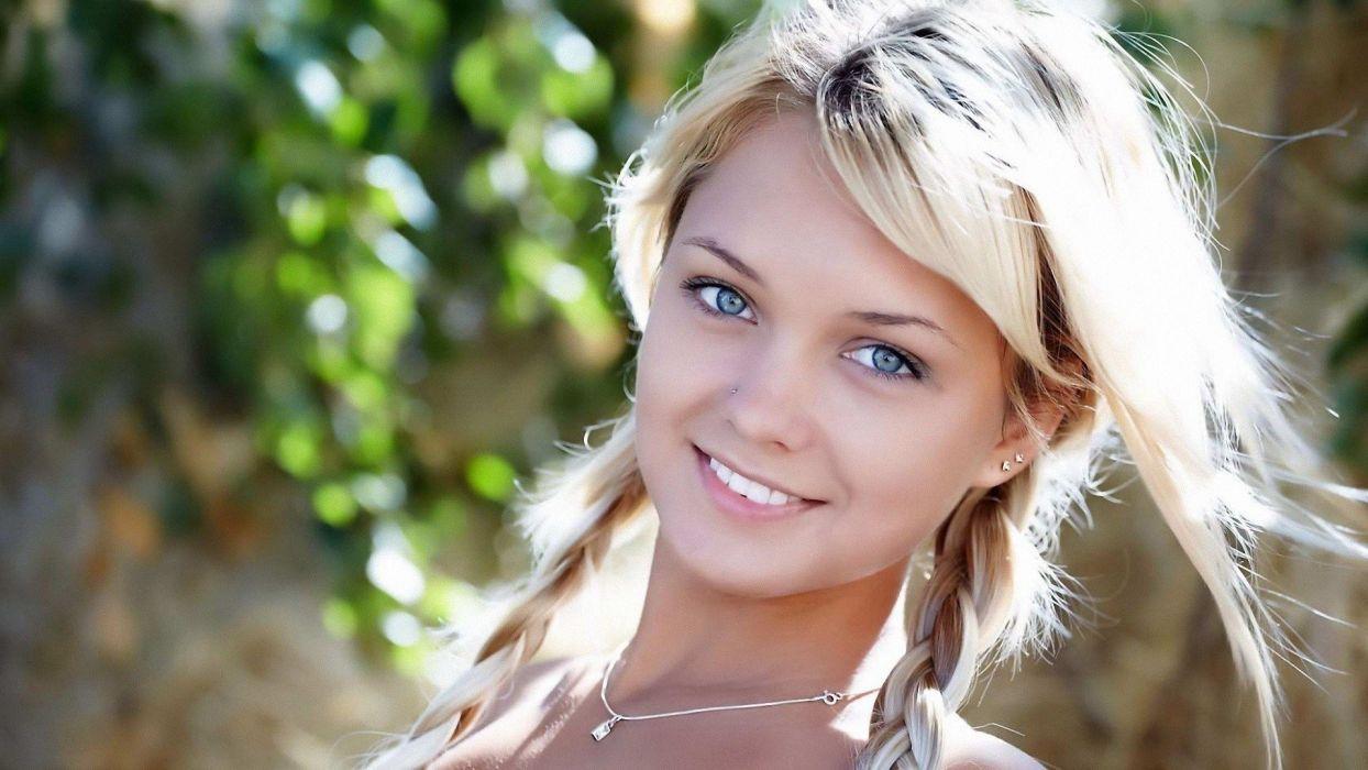 blondes women piercings smiling ponytails Lada D wallpaper