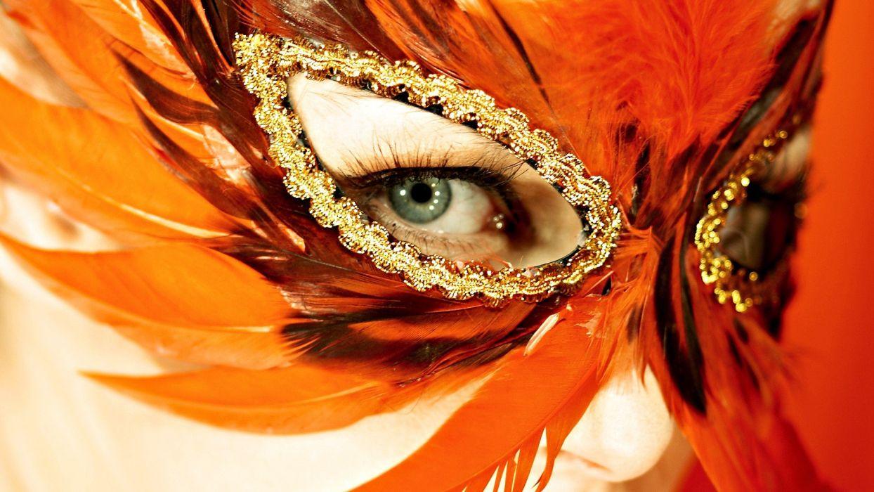 women eyes orange feathers masks Venetian masks wallpaper