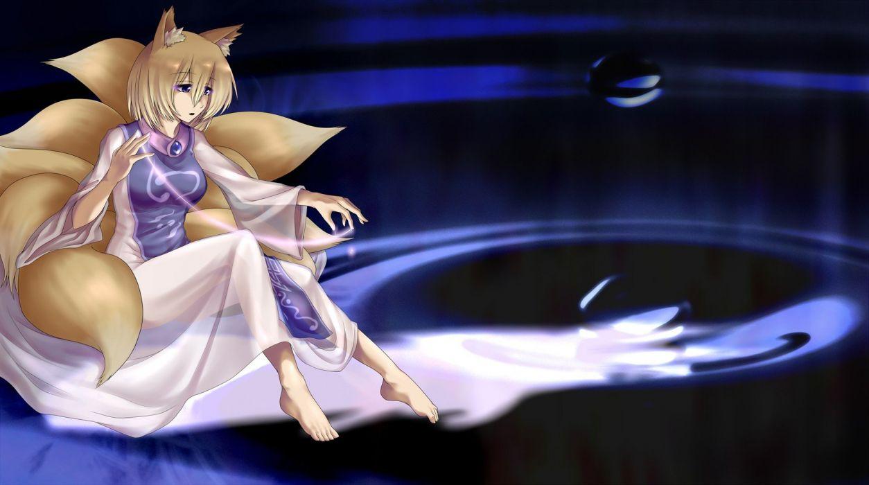 blondes tails video games Touhou animal ears Yakumo Ran anime girls wallpaper